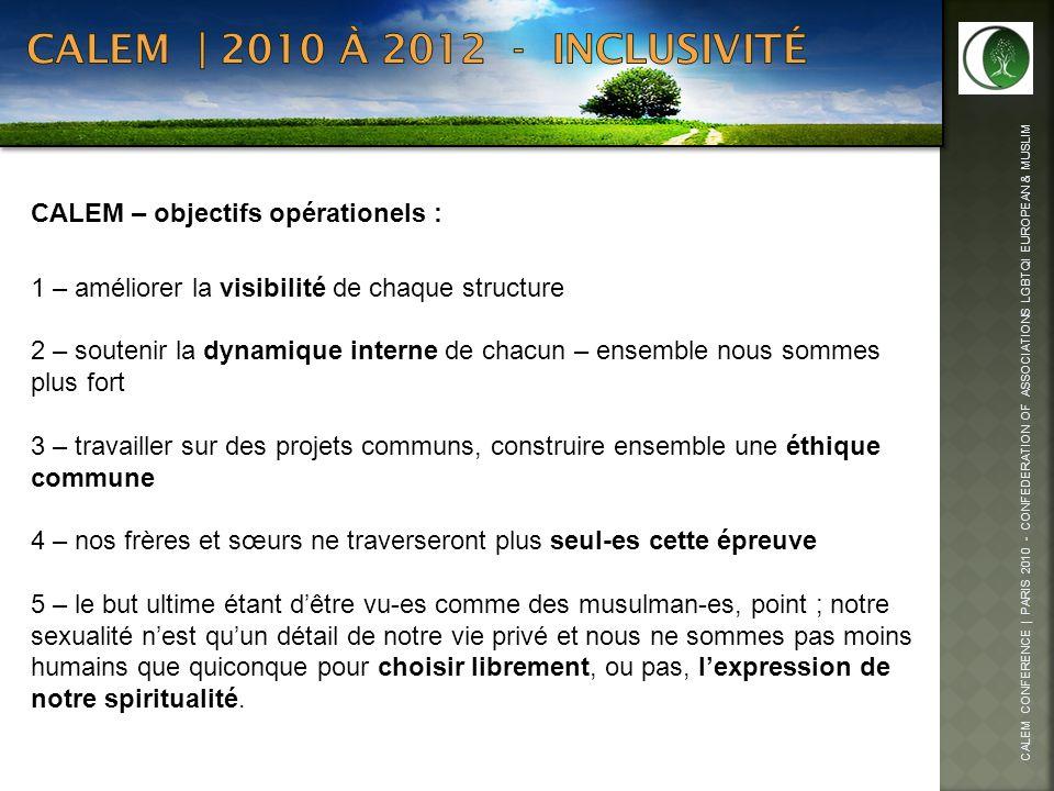 CALEM | 2010 à 2012 - inclusivité CALEM – objectifs opérationels :