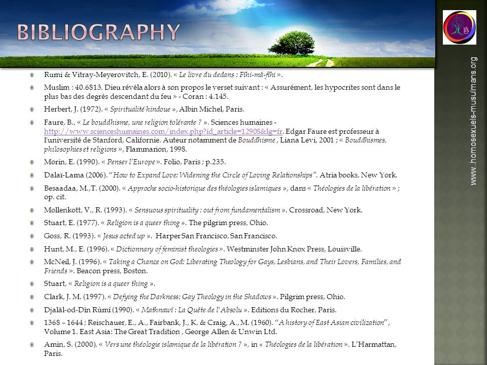 bibliography www..homosexuels-musulmans.org