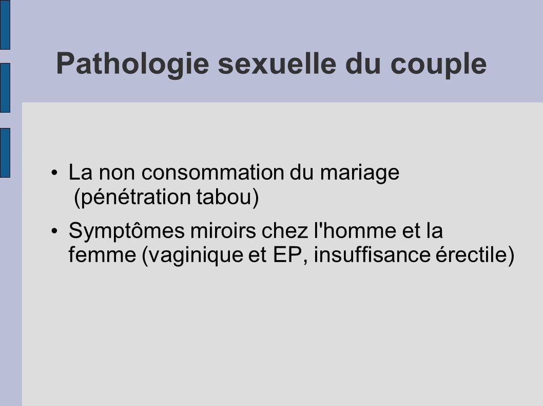 Pathologie sexuelle du couple
