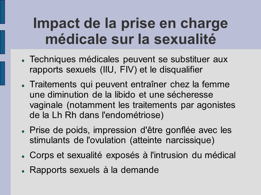 Impact de la prise en charge médicale sur la sexualité