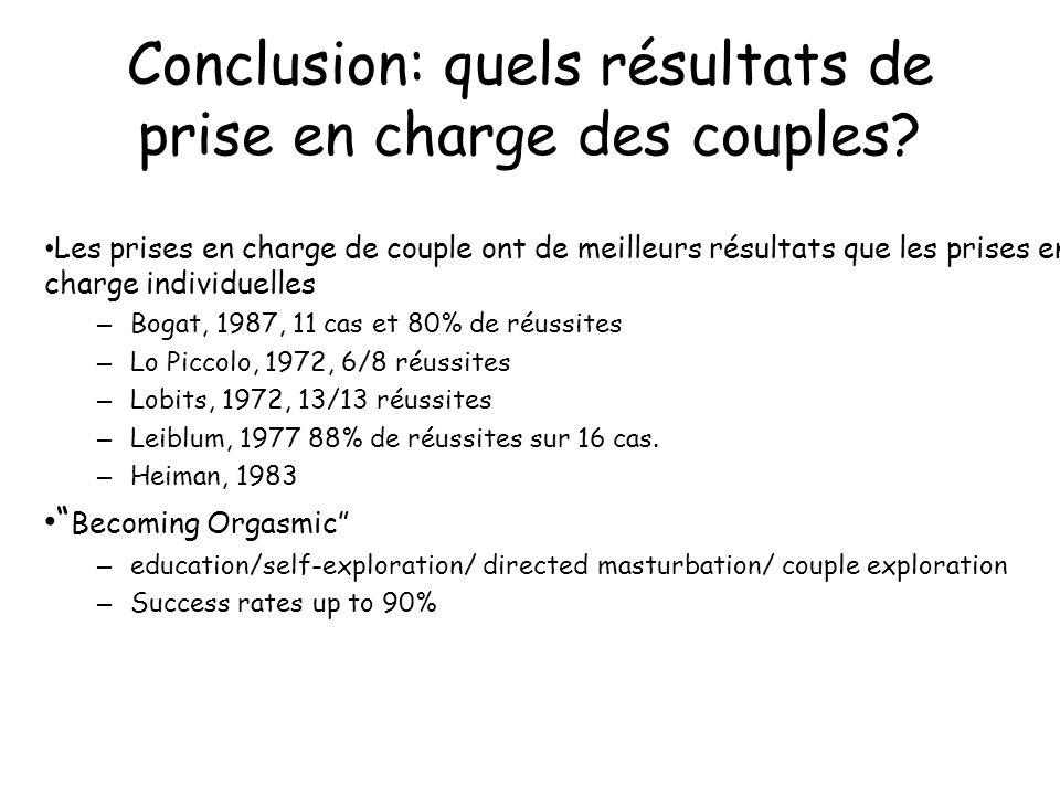 Conclusion: quels résultats de prise en charge des couples