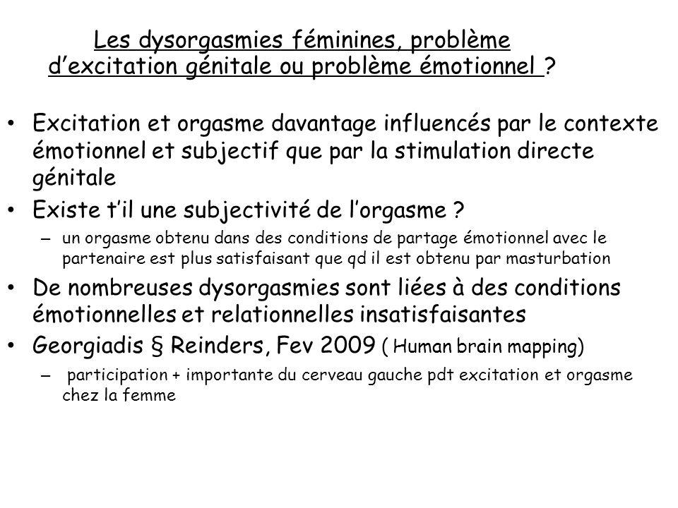 Les dysorgasmies féminines, problème d'excitation génitale ou problème émotionnel