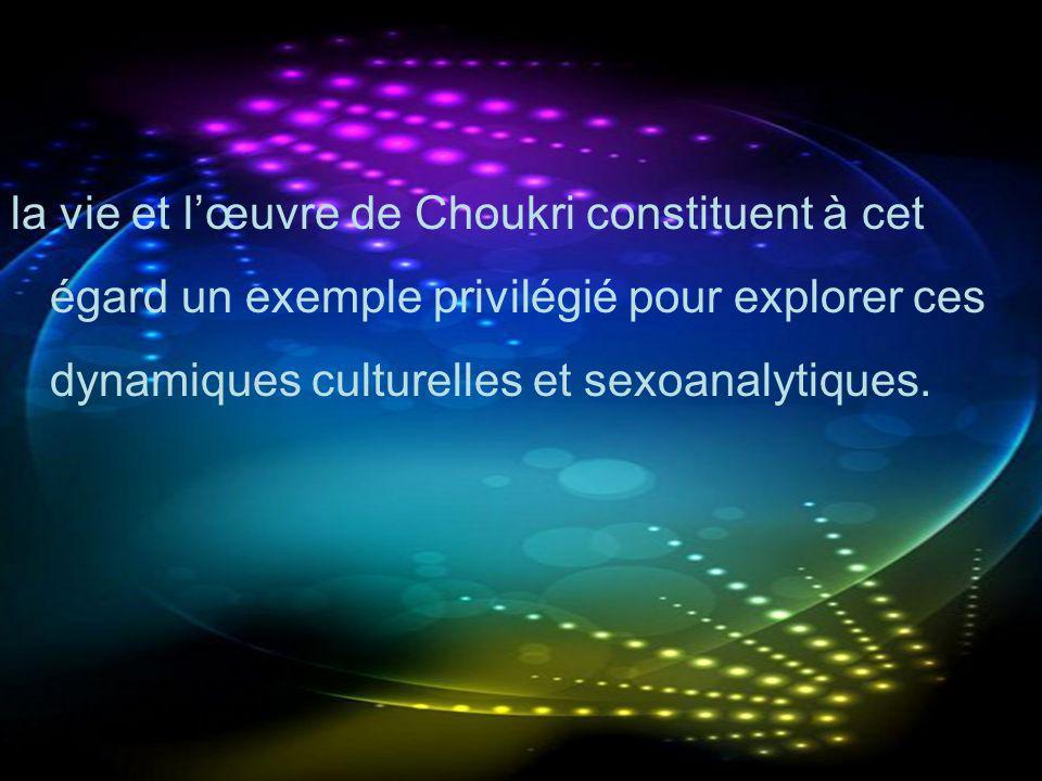 la vie et l'œuvre de Choukri constituent à cet égard un exemple privilégié pour explorer ces dynamiques culturelles et sexoanalytiques.