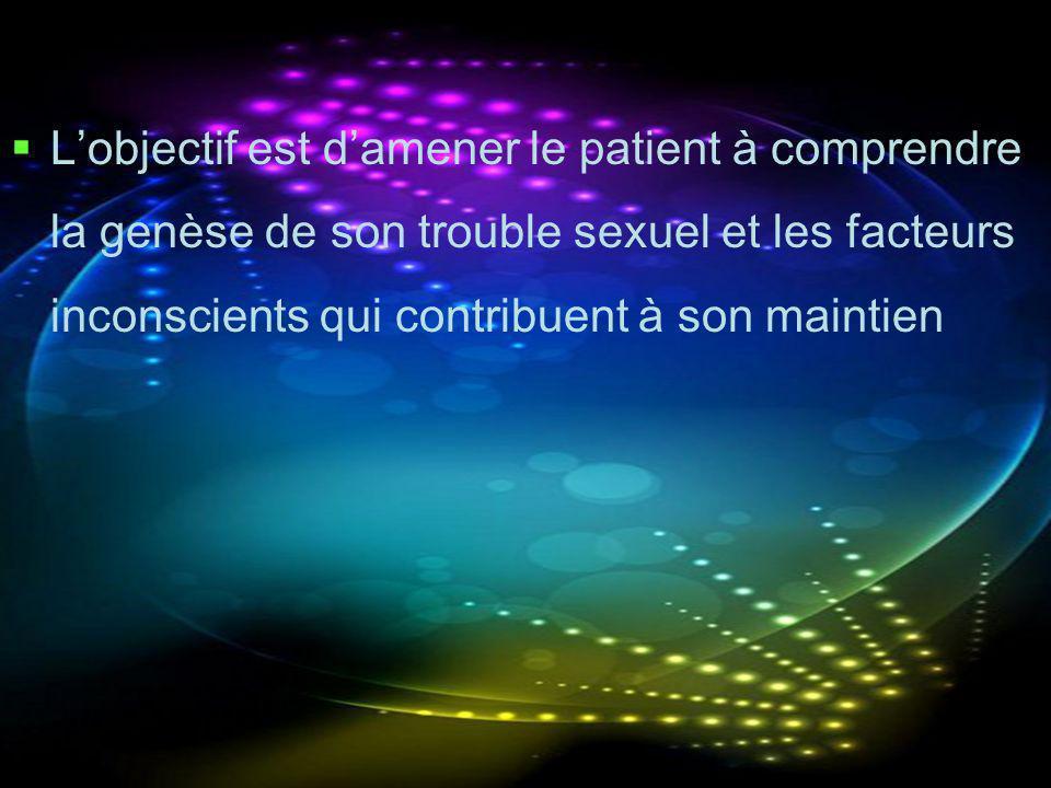 L'objectif est d'amener le patient à comprendre la genèse de son trouble sexuel et les facteurs inconscients qui contribuent à son maintien