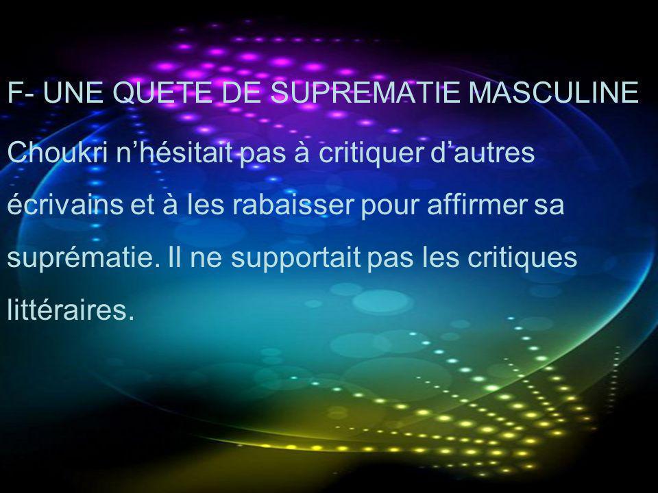 F- UNE QUETE DE SUPREMATIE MASCULINE