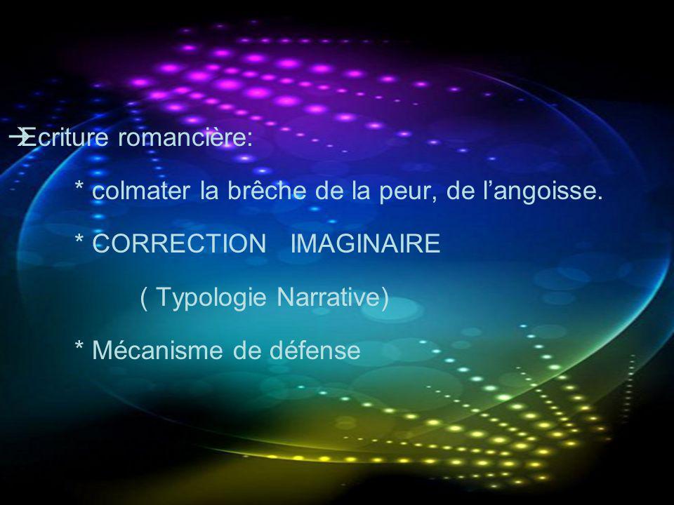 Ecriture romancière: * colmater la brêche de la peur, de l'angoisse. * CORRECTION IMAGINAIRE. ( Typologie Narrative)