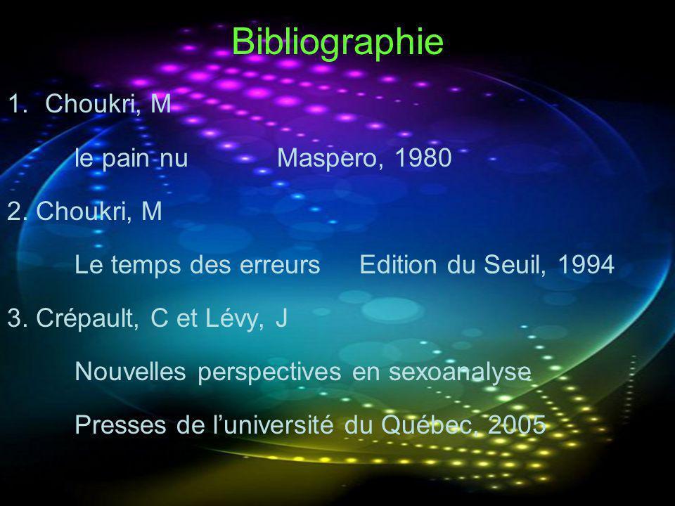 Bibliographie Choukri, M le pain nu Maspero, 1980 2. Choukri, M