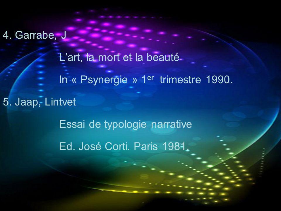 4. Garrabe, J L'art, la mort et la beauté. In « Psynergie » 1er trimestre 1990. 5. Jaap, Lintvet.
