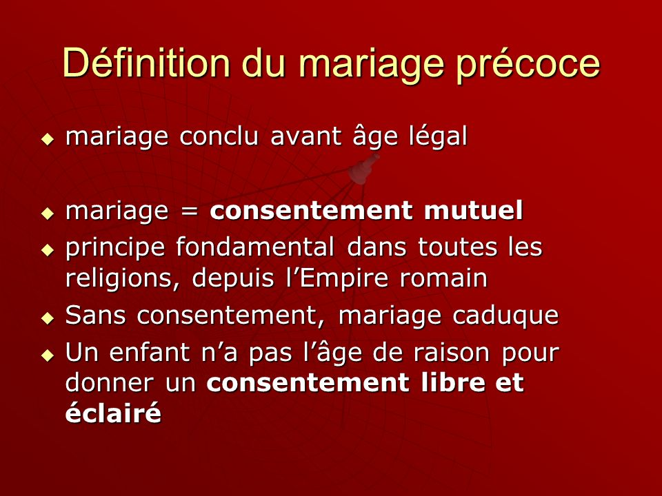 Définition du mariage précoce