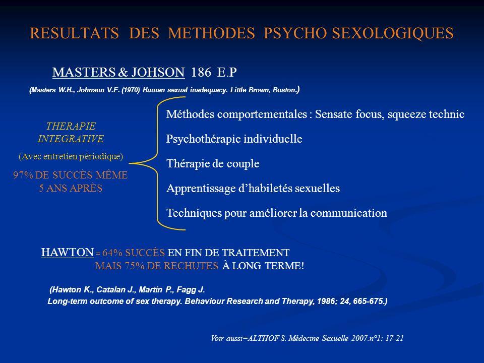 RESULTATS DES METHODES PSYCHO SEXOLOGIQUES