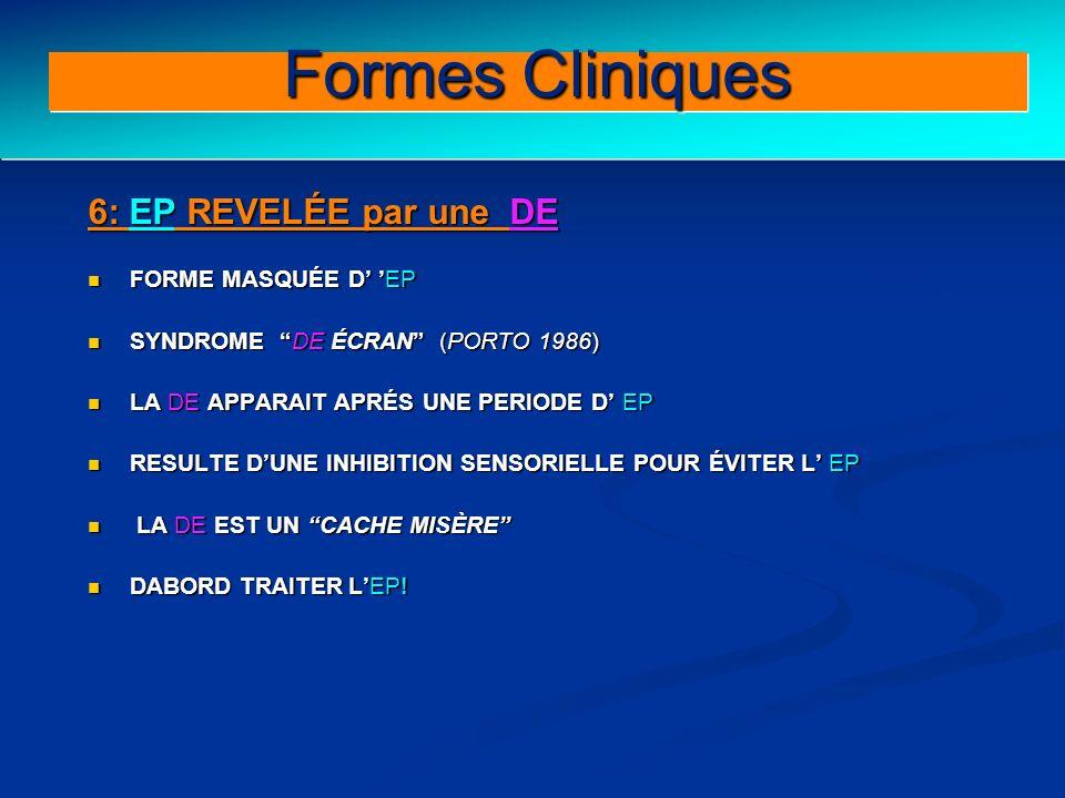 Clinical forms (III) Formes Cliniques 6: EP REVELÉE par une DE