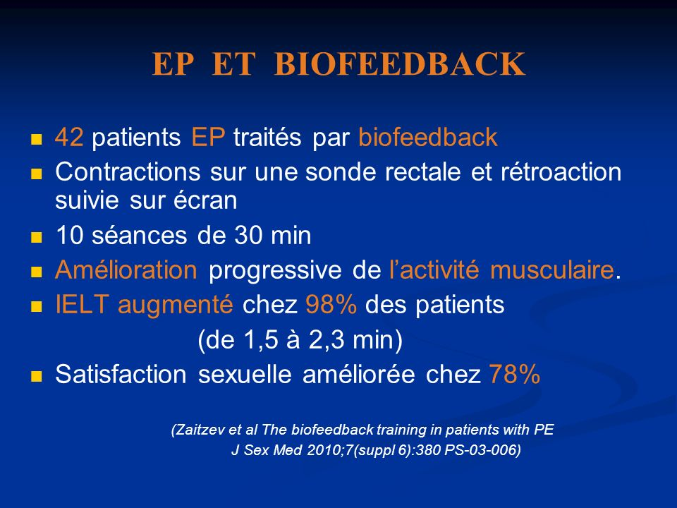 EP ET BIOFEEDBACK 42 patients EP traités par biofeedback