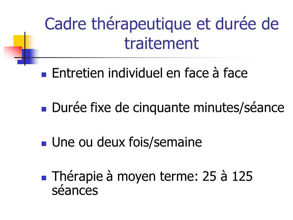 Cadre thérapeutique et durée de traitement