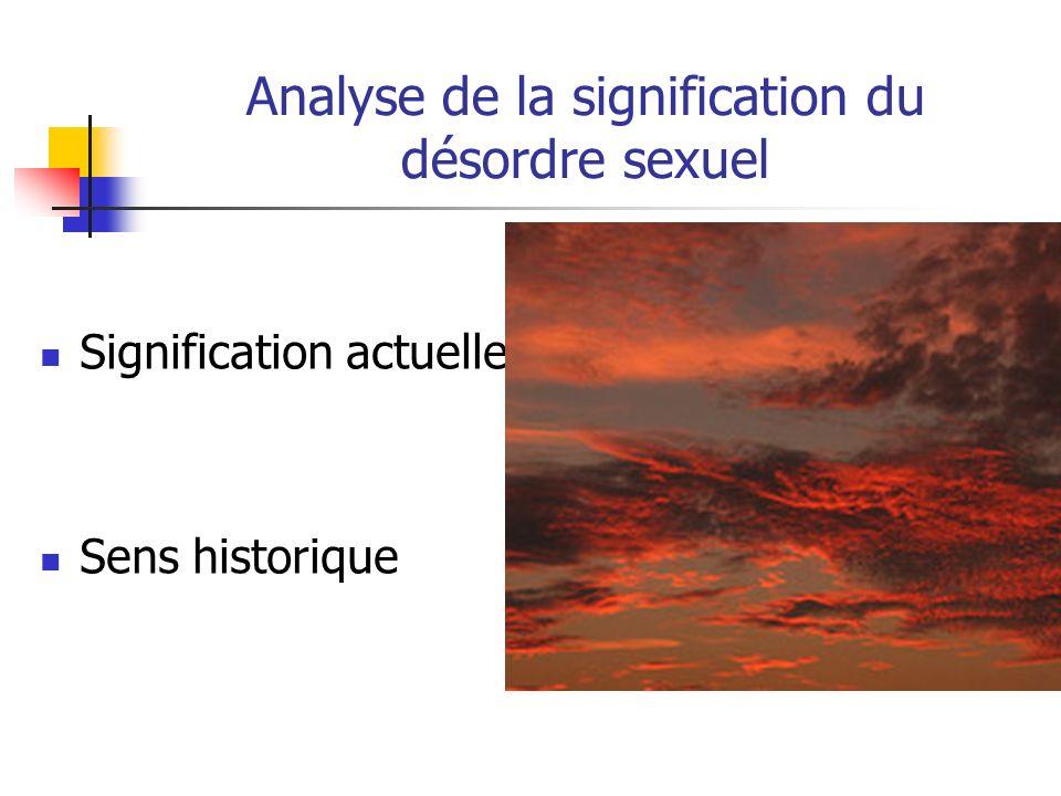 Analyse de la signification du désordre sexuel