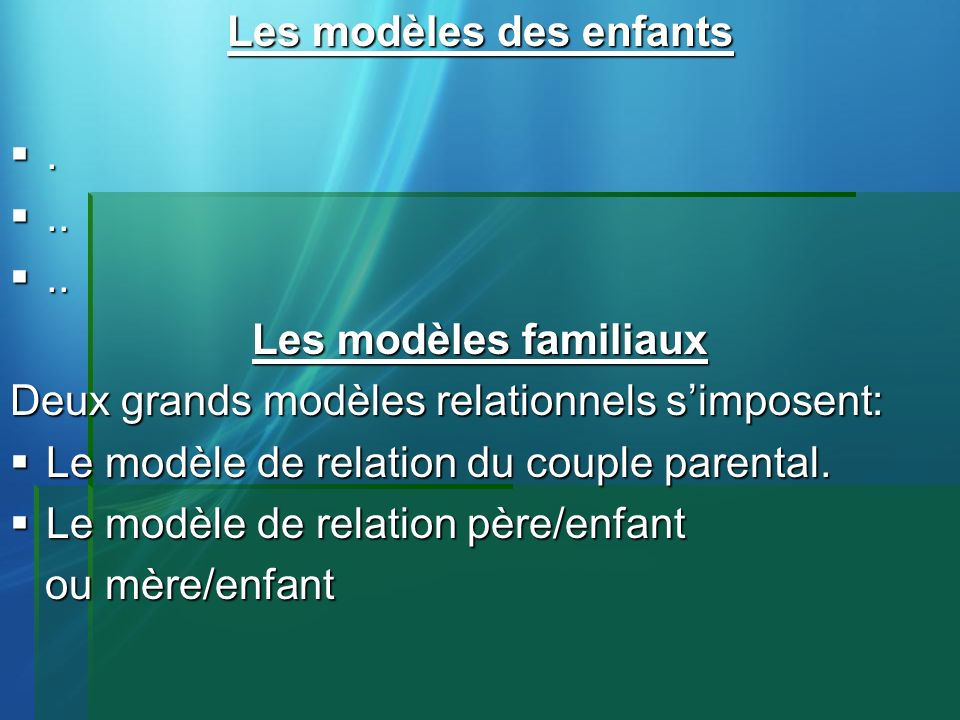 Les modèles des enfants