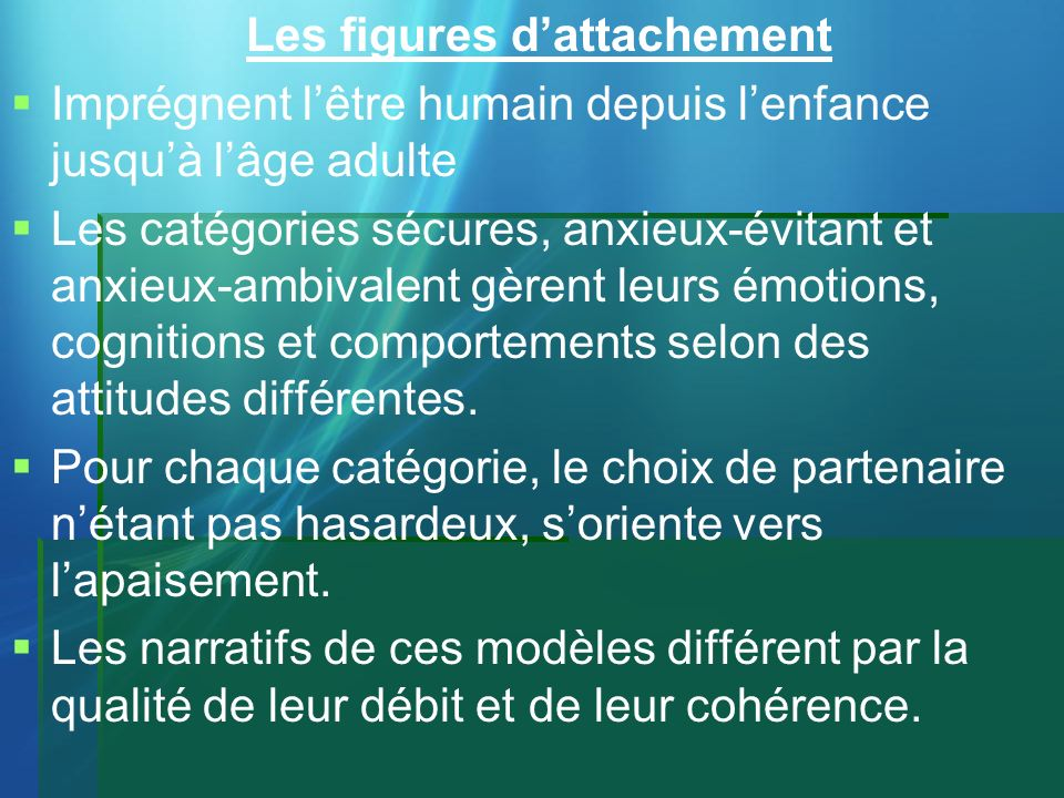 Les figures d'attachement