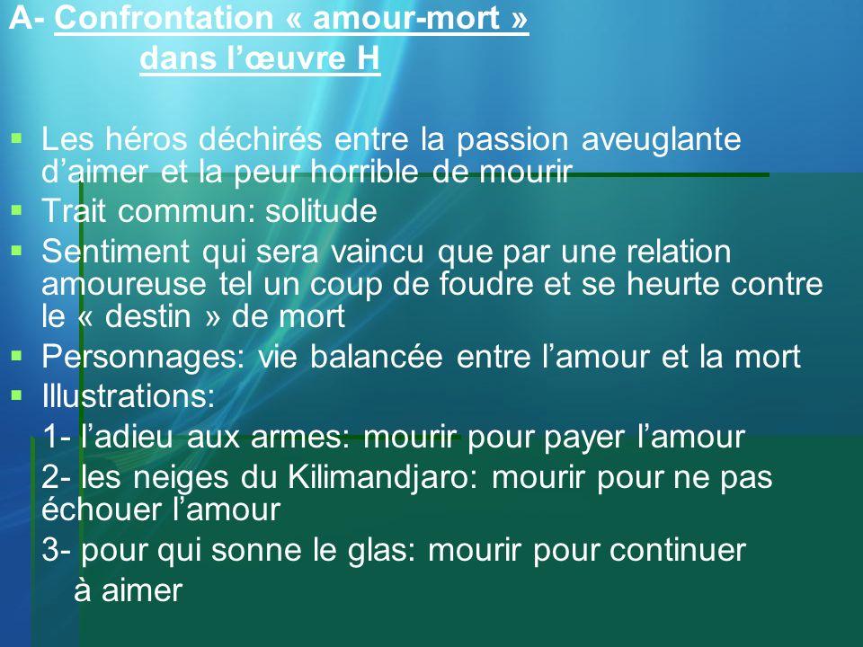 A- Confrontation « amour-mort »