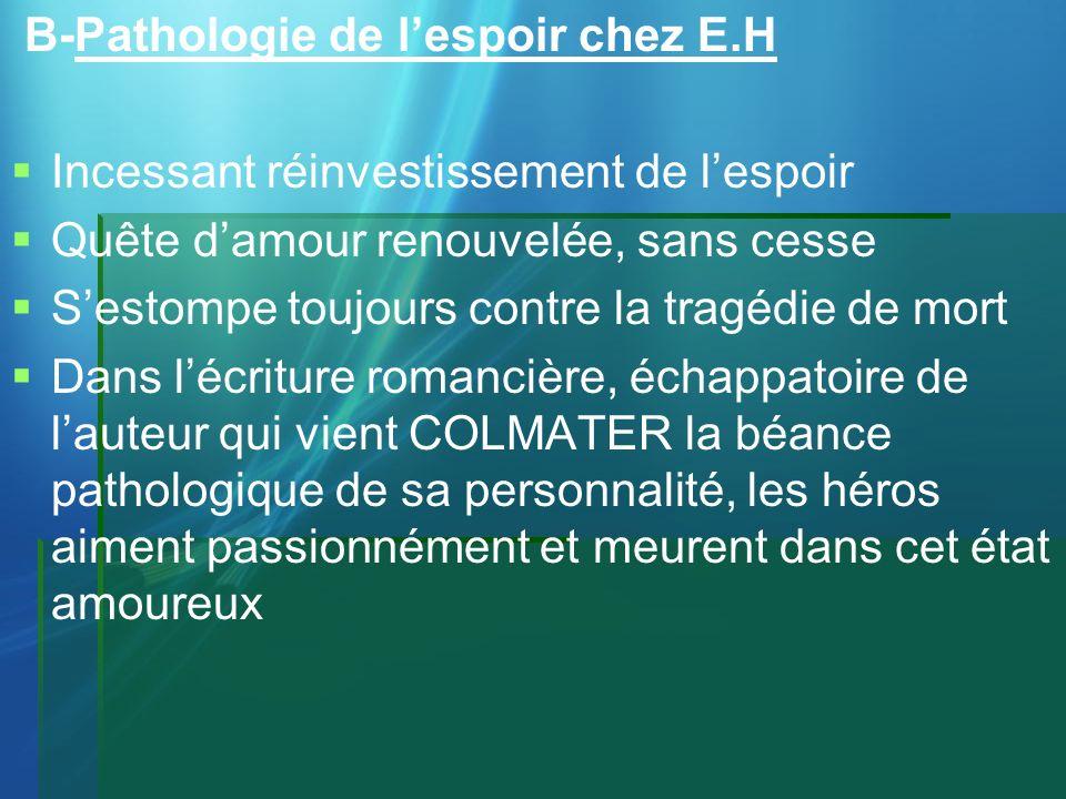 B-Pathologie de l'espoir chez E.H