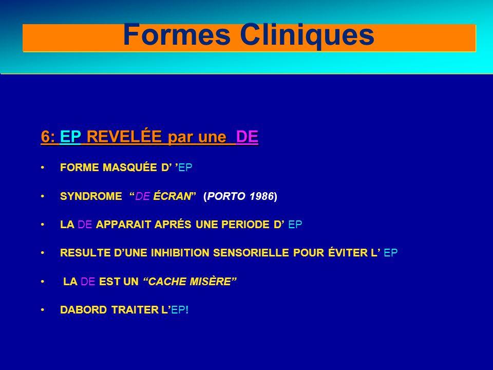Formes Cliniques Clinical forms (III) 6: EP REVELÉE par une DE