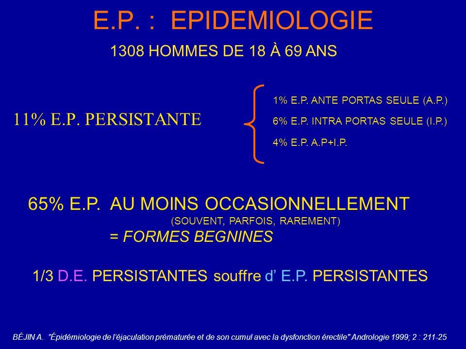 E.P. : EPIDEMIOLOGIE 11% E.P. PERSISTANTE