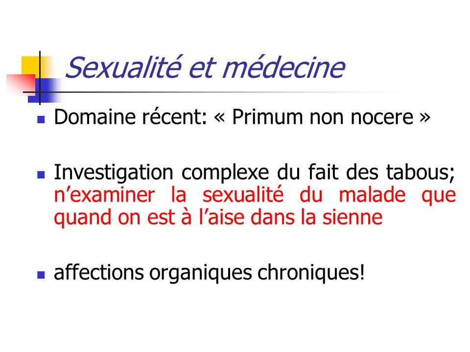 Sexualité et médecine Domaine récent: « Primum non nocere »