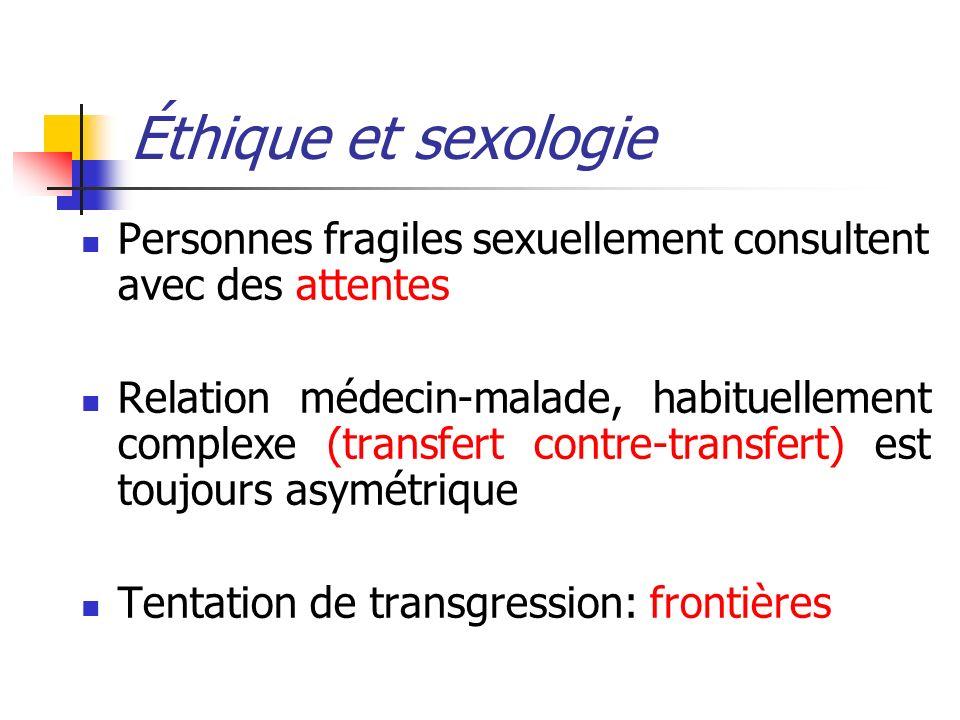 Éthique et sexologie Personnes fragiles sexuellement consultent avec des attentes.