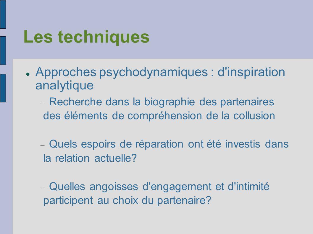 Les techniques Approches psychodynamiques : d inspiration analytique