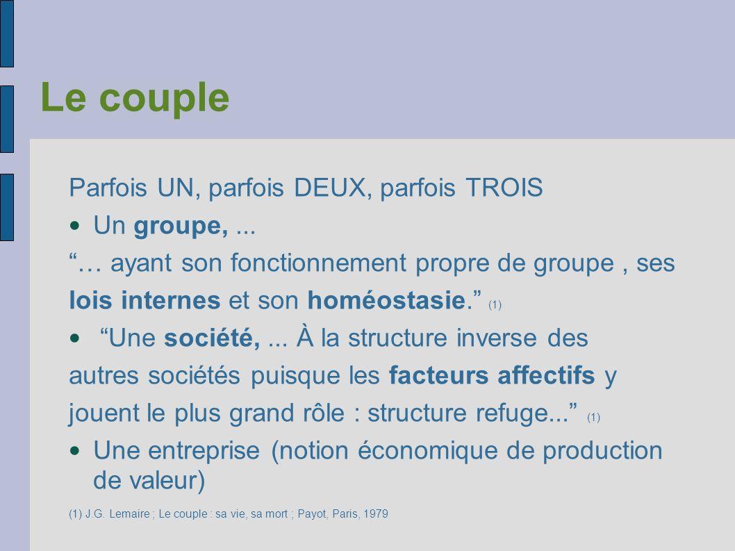 Le couple Parfois UN, parfois DEUX, parfois TROIS Un groupe, ...
