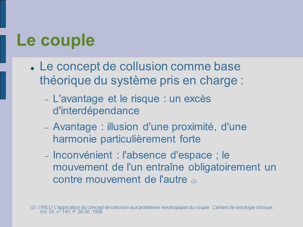 Le coupleLe concept de collusion comme base théorique du système pris en charge : L avantage et le risque : un excès d interdépendance.