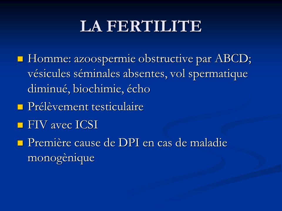 LA FERTILITE Homme: azoospermie obstructive par ABCD; vésicules séminales absentes, vol spermatique diminué, biochimie, écho.