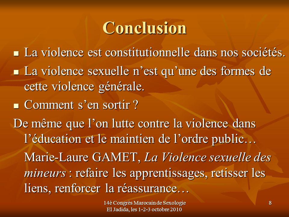 14è Congrès Marocain de Sexologie El Jadida, les 1-2-3 octobre 2010