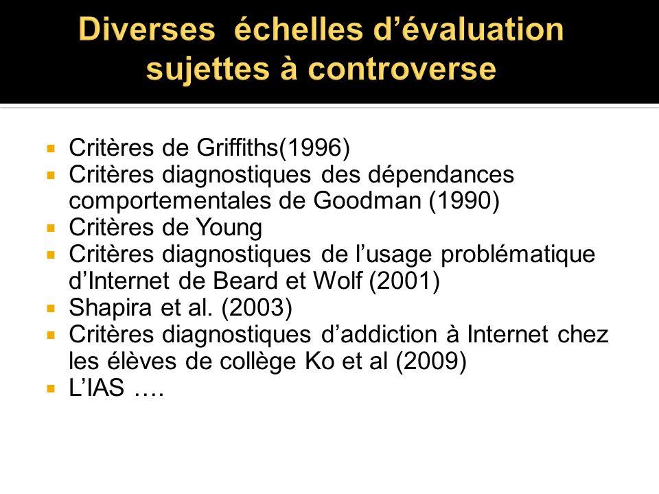 Diverses échelles d'évaluation sujettes à controverse