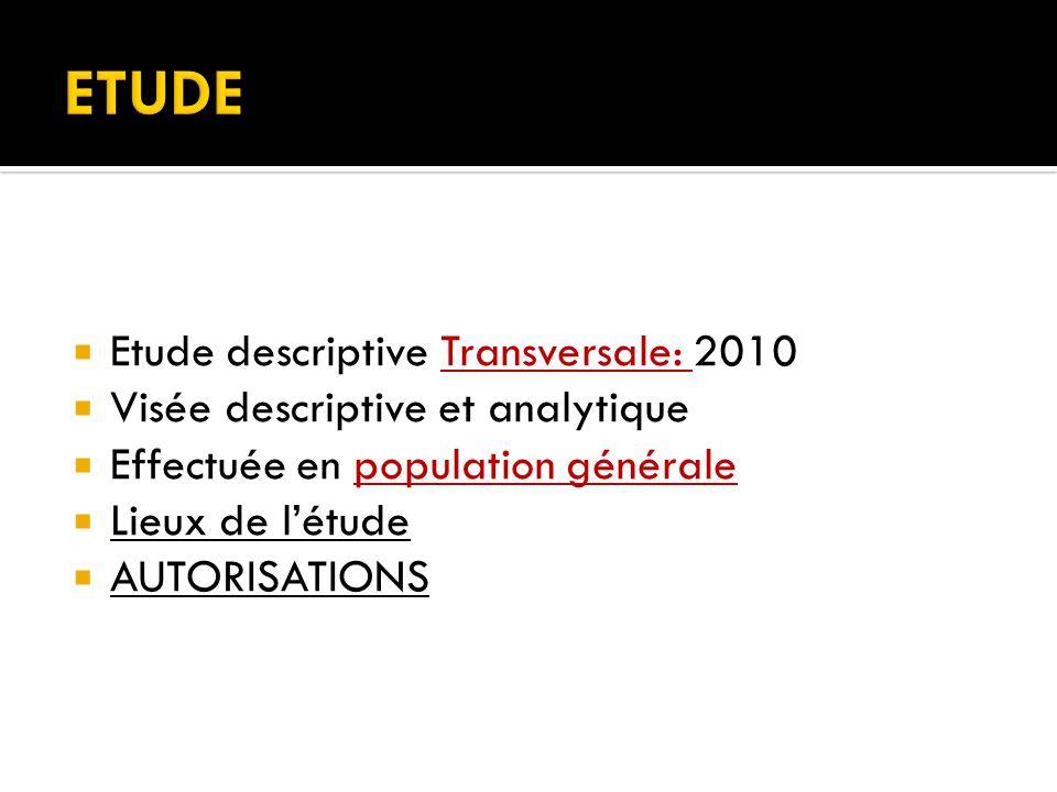 ETUDE Etude descriptive Transversale: 2010