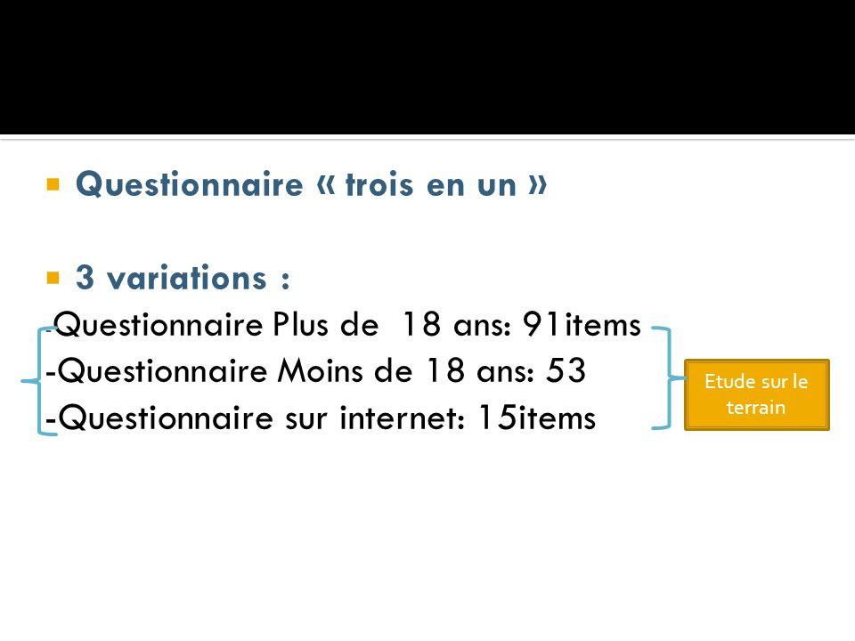 Questionnaire « trois en un » 3 variations :