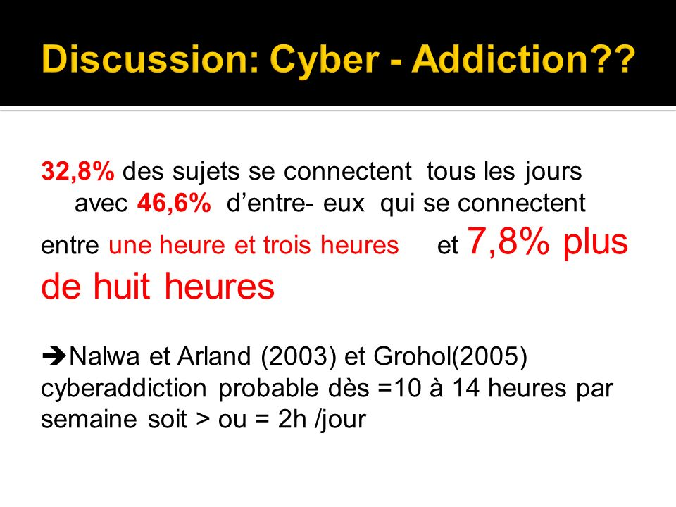 Discussion: Cyber - Addiction