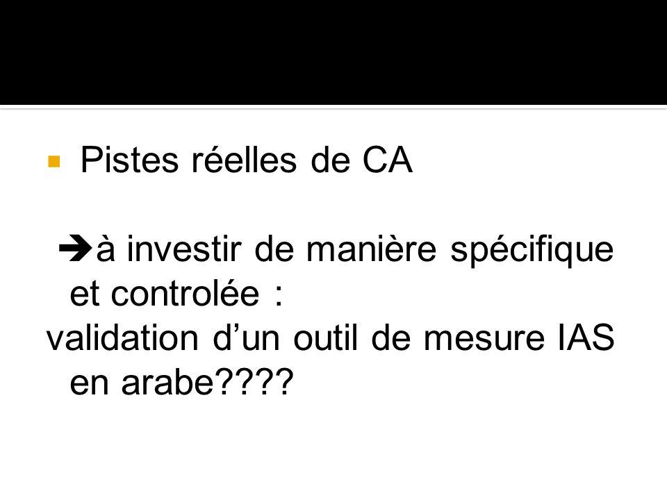 Pistes réelles de CA à investir de manière spécifique et controlée : validation d'un outil de mesure IAS en arabe