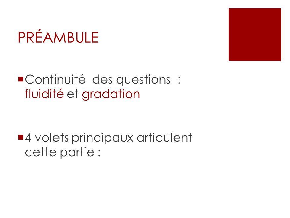 PRÉAMBULE Continuité des questions : fluidité et gradation