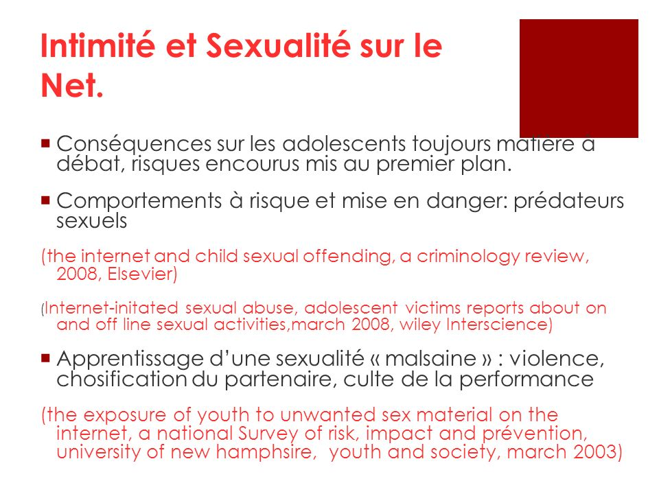 Intimité et Sexualité sur le Net.