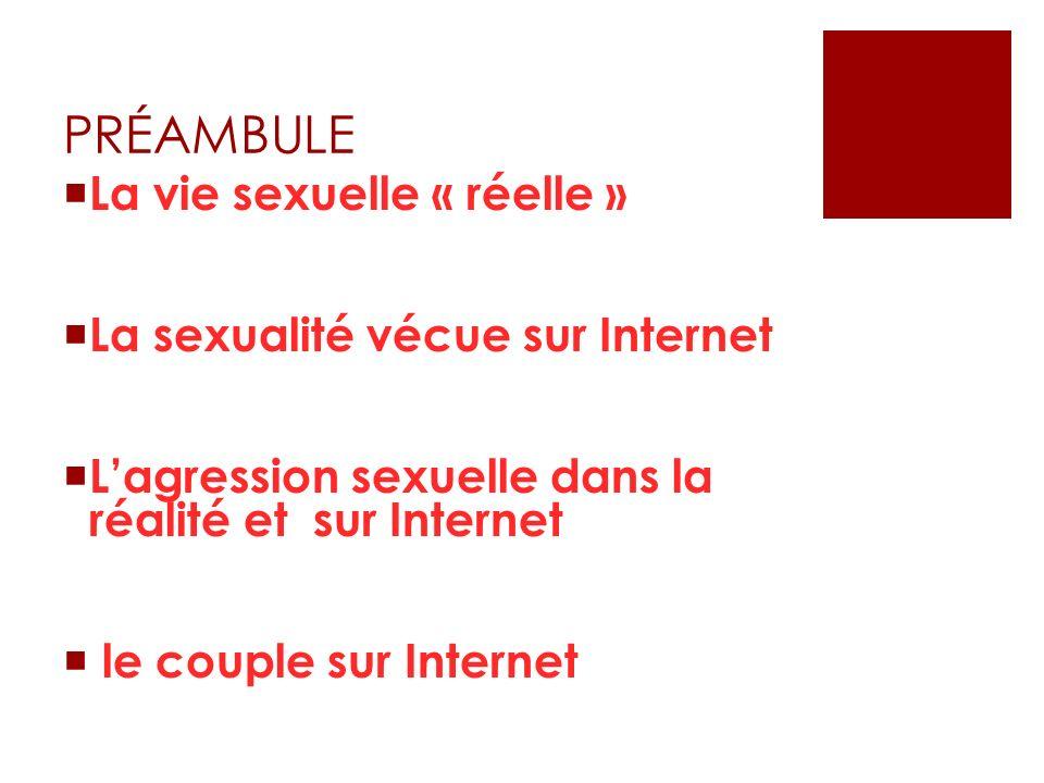 PRÉAMBULE La vie sexuelle « réelle » La sexualité vécue sur Internet