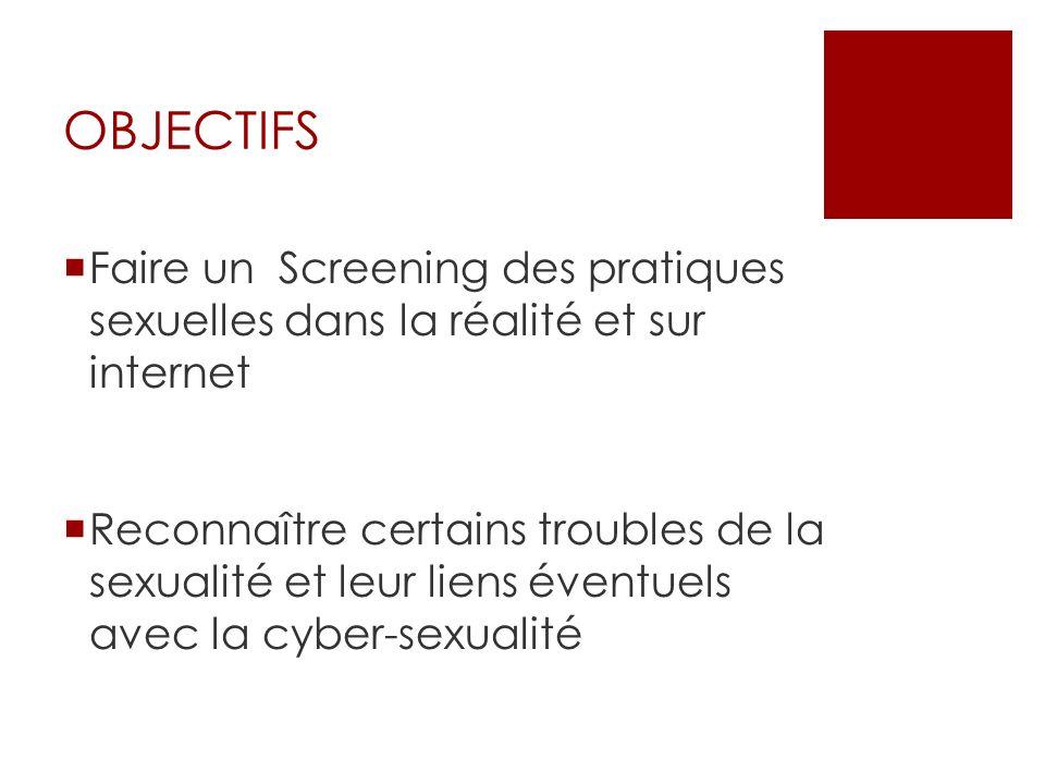 OBJECTIFS Faire un Screening des pratiques sexuelles dans la réalité et sur internet.