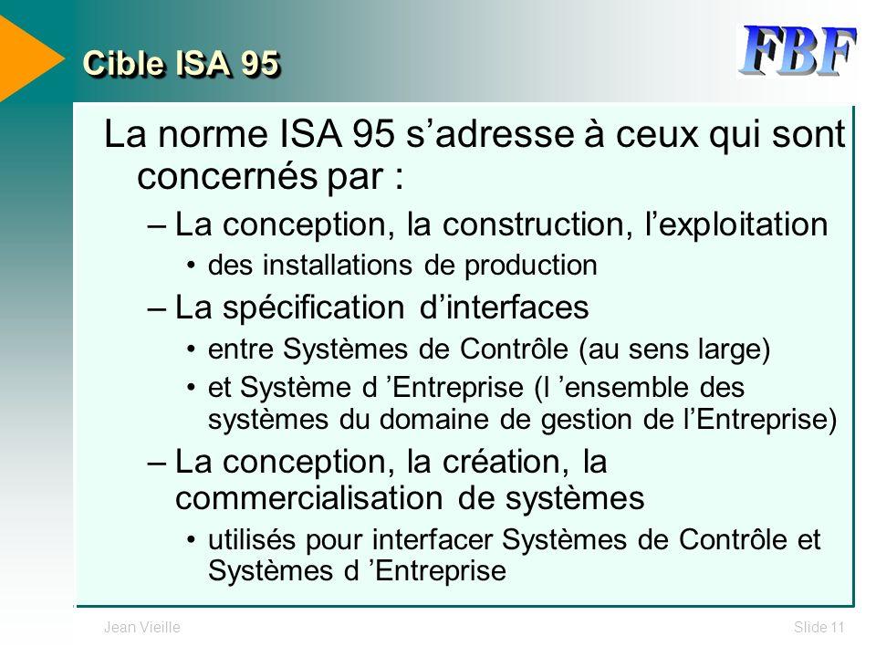 La norme ISA 95 s'adresse à ceux qui sont concernés par :