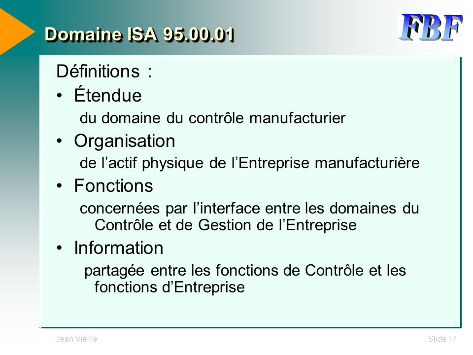 Domaine ISA 95.00.01 Définitions : Étendue Organisation Fonctions