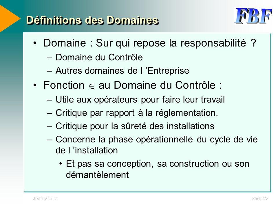 Définitions des Domaines