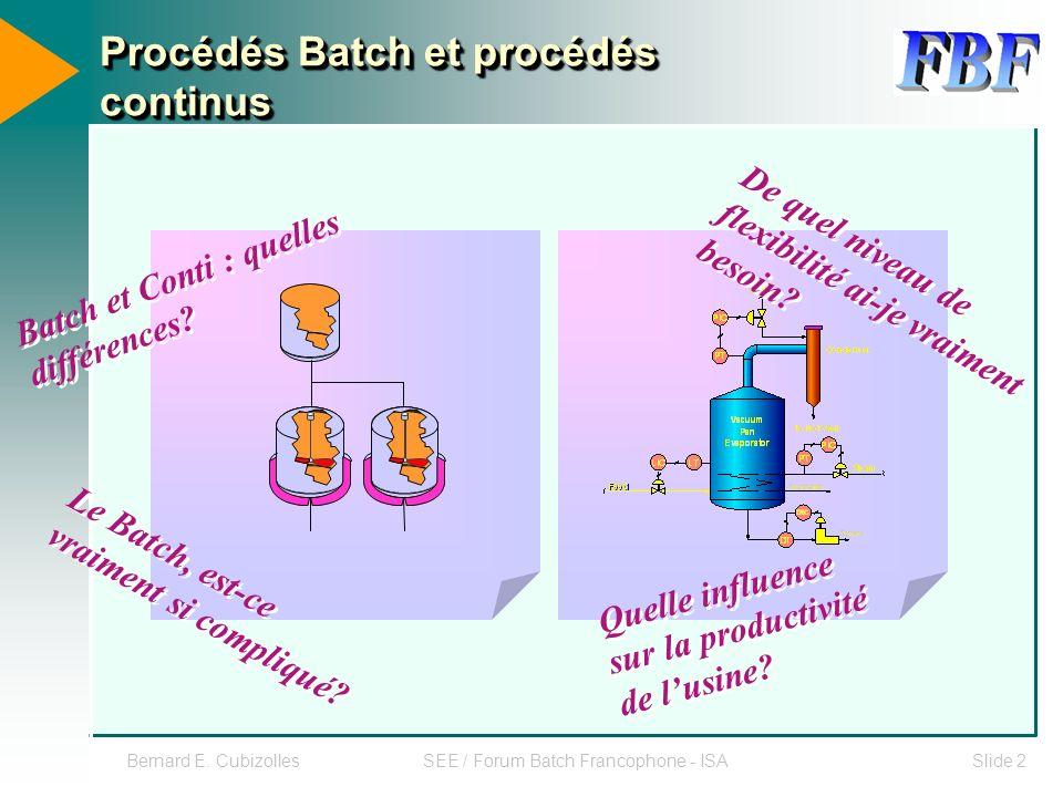 Procédés Batch et procédés continus