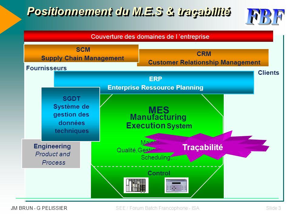 Positionnement du M.E.S & traçabilité