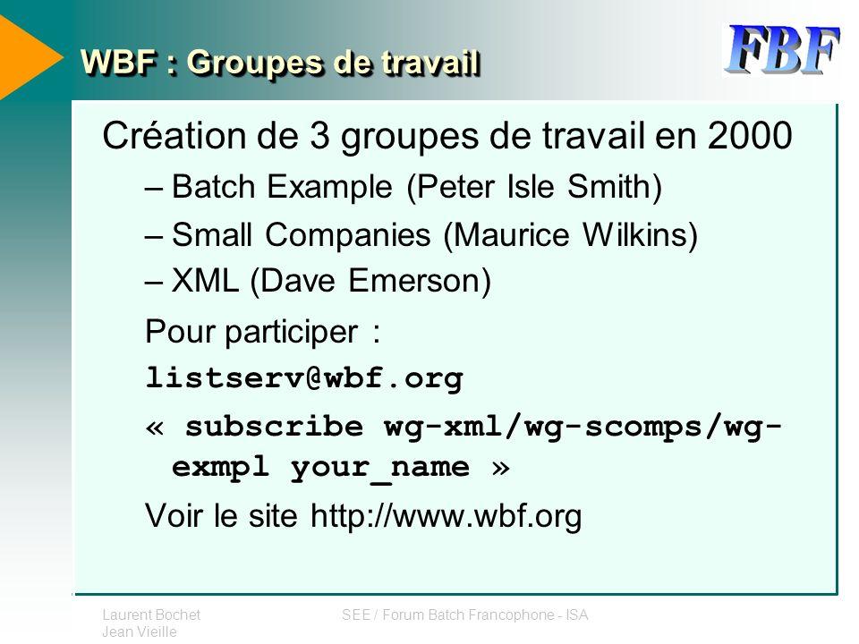 WBF : Groupes de travail