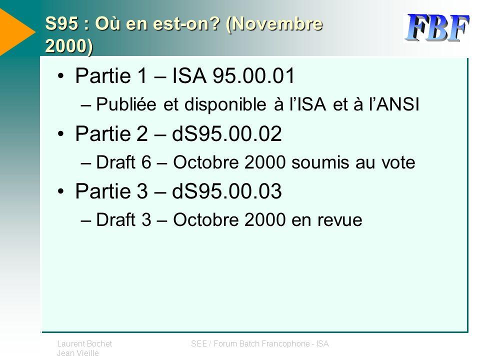 S95 : Où en est-on (Novembre 2000)