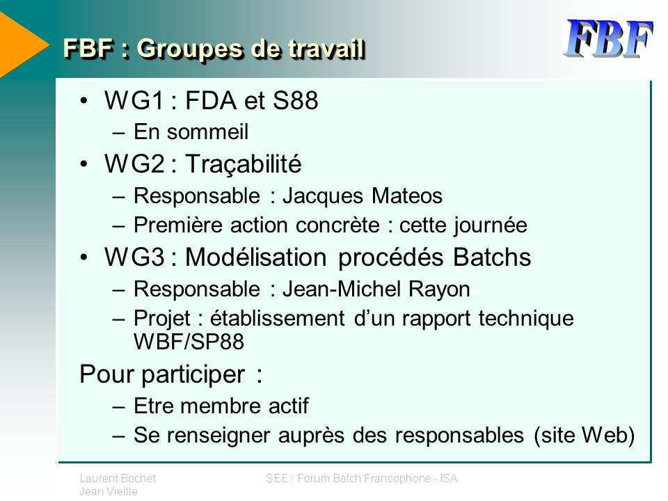 FBF : Groupes de travail