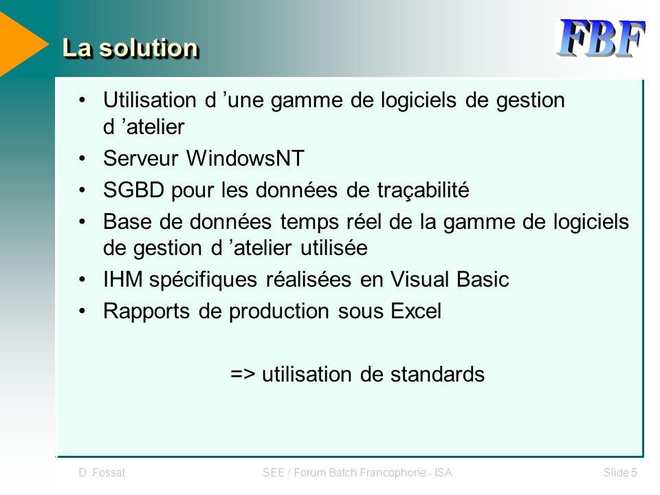 La solution Utilisation d 'une gamme de logiciels de gestion d 'atelier. Serveur WindowsNT. SGBD pour les données de traçabilité.