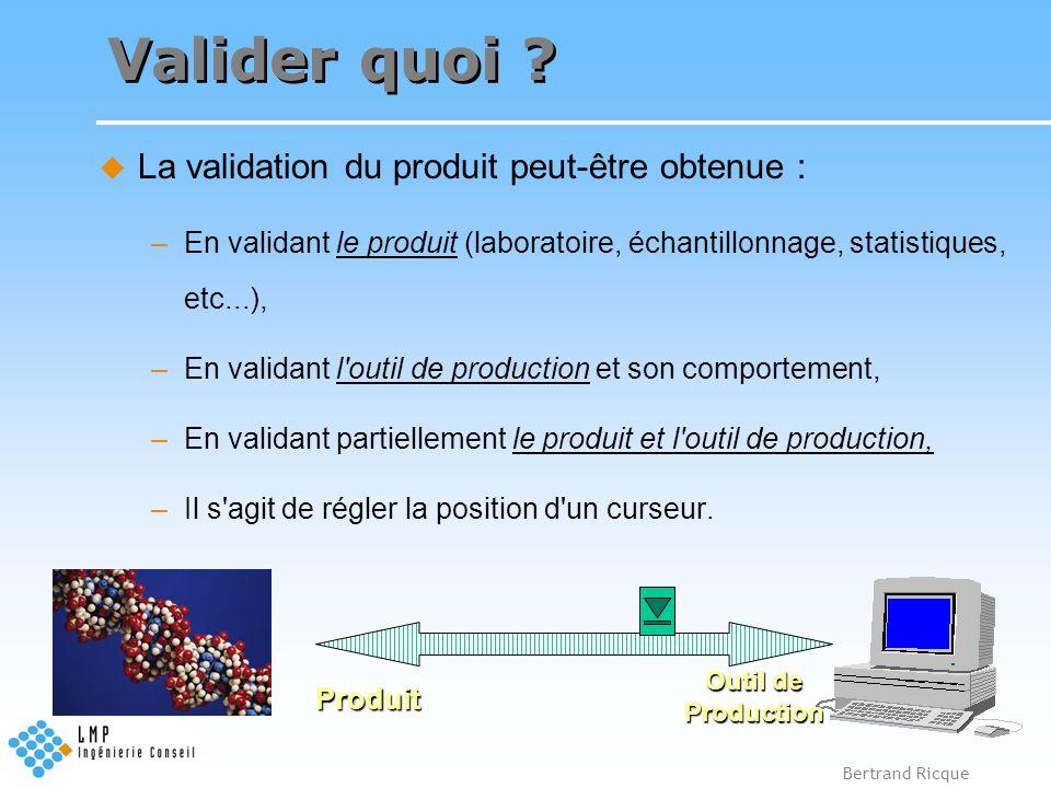 Valider quoi La validation du produit peut-être obtenue :